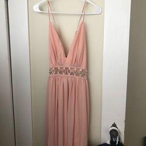Dresses & Skirts - Light Pink O Ring V Neck Maxi Prom Dress